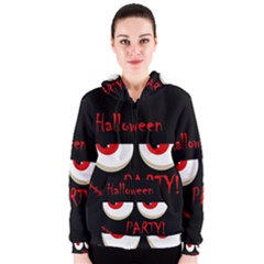 Halloween party - red eyes monster Women s Zipper Hoodie