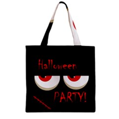 Halloween party - red eyes monster Zipper Grocery Tote Bag