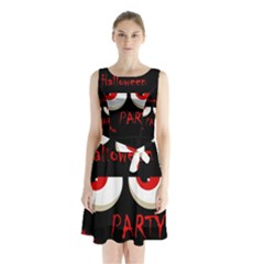 Halloween Party   Red Eyes Monster Sleeveless Chiffon Waist Tie Dress