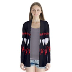 Halloween party - red eyes monster Drape Collar Cardigan