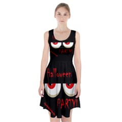 Halloween party - red eyes monster Racerback Midi Dress