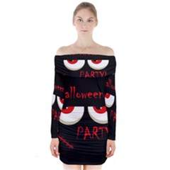 Halloween party - red eyes monster Long Sleeve Off Shoulder Dress