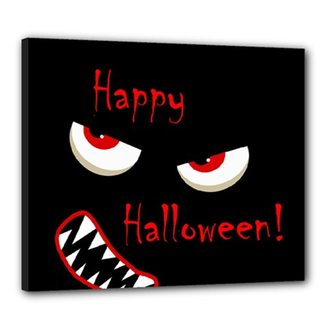Happy Halloween - red eyes monster Canvas 24  x 20