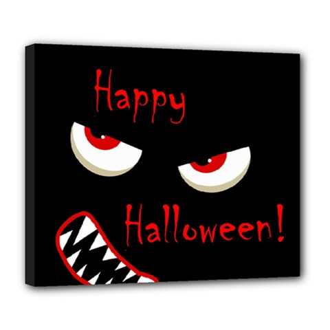 Happy Halloween - red eyes monster Deluxe Canvas 24  x 20