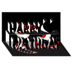 Happy Halloween - red eyes monster Happy Birthday 3D Greeting Card (8x4)