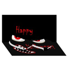 Happy Halloween - red eyes monster Twin Heart Bottom 3D Greeting Card (8x4)