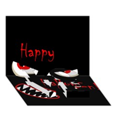 Happy Halloween - red eyes monster LOVE Bottom 3D Greeting Card (7x5)