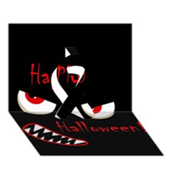 Happy Halloween - red eyes monster Ribbon 3D Greeting Card (7x5)