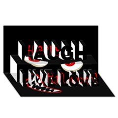 Happy Halloween - red eyes monster Laugh Live Love 3D Greeting Card (8x4)