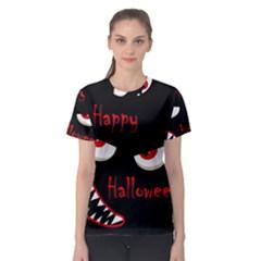 Happy Halloween - red eyes monster Women s Sport Mesh Tee
