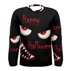 Happy Halloween - red eyes monster Men s Long Sleeve Tee