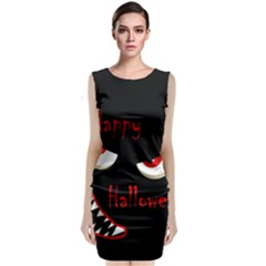 Happy Halloween - red eyes monster Classic Sleeveless Midi Dress