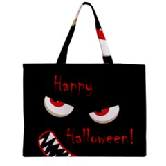 Happy Halloween - red eyes monster Medium Zipper Tote Bag