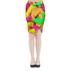 Neon Patterns Midi Wrap Pencil Skirt