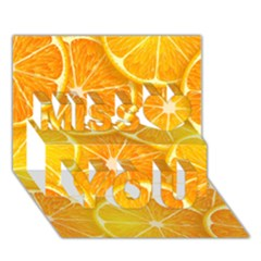 Orange Copy Miss You 3D Greeting Card (7x5)
