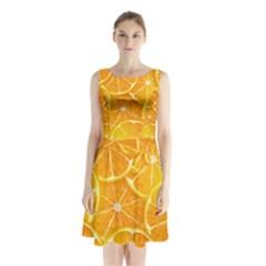 Orange Copy Sleeveless Chiffon Waist Tie Dress