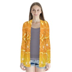 Orange Copy Drape Collar Cardigan