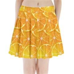 Orange Copy Pleated Mini Skirt