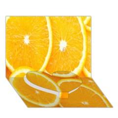 Orange Fruit Heart Bottom 3d Greeting Card (7x5)