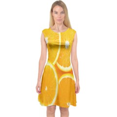 Orange Fruit Capsleeve Midi Dress
