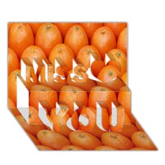 Orange Fruits Miss You 3d Greeting Card (7x5)