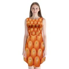 Orange Fruits Sleeveless Chiffon Dress