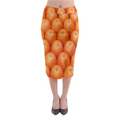 Orange Fruits Midi Pencil Skirt