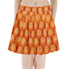 Orange Fruits Pleated Mini Skirt