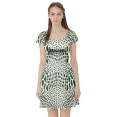 GREEN SNAKE TEXTURE Short Sleeve Skater Dress