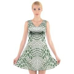 Green Snake Texture V Neck Sleeveless Skater Dress