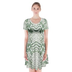 Green Snake Texture Short Sleeve V Neck Flare Dress