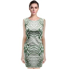 Green Snake Texture Classic Sleeveless Midi Dress