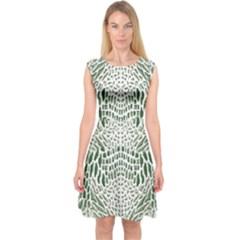 Green Snake Texture Capsleeve Midi Dress