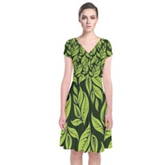 Palm Coconut Tree Short Sleeve Front Wrap Dress