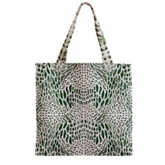 GREEN REPTILE SCALES Zipper Grocery Tote Bag