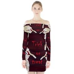 Halloween Mummy Long Sleeve Off Shoulder Dress