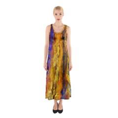 Abstract Sleeveless Maxi Dress