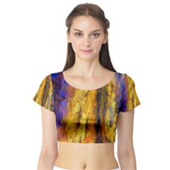 Abstract Short Sleeve Crop Top (Tight Fit)