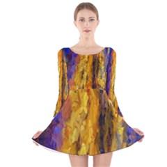 Abstract Long Sleeve Velvet Skater Dress