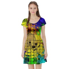 Abstract Circle Wave Squares Short Sleeve Skater Dress