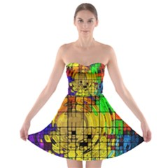 Abstract Circle Wave Squares Strapless Bra Top Dress