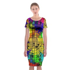 Abstract Circle Wave Squares Classic Short Sleeve Midi Dress