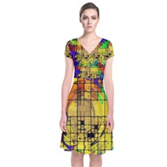 Abstract Circle Wave Squares Short Sleeve Front Wrap Dress