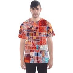 Abstract Squares Arrangement Men s Sport Mesh Tee