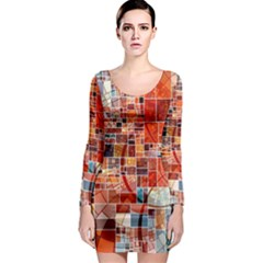 Abstract Squares Arrangement Long Sleeve Bodycon Dress