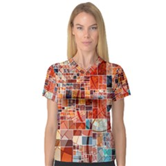 Abstract Squares Arrangement Women s V-Neck Sport Mesh Tee