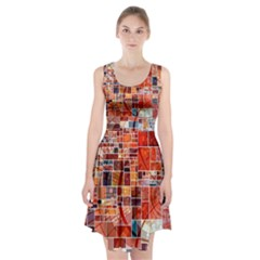Abstract Squares Arrangement Racerback Midi Dress