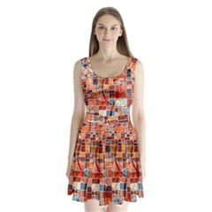 Abstract Squares Arrangement Split Back Mini Dress