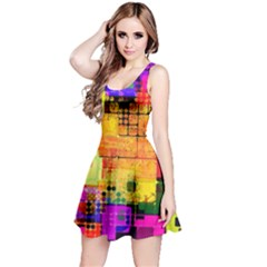 Abstract Squares Background Pattern Reversible Sleeveless Dress