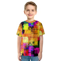 Abstract Squares Background Pattern Kids  Sport Mesh Tee